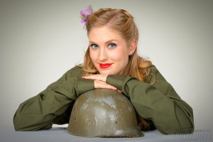 Pinup Model Alisha with Military Helmet Liner