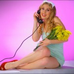 Alisha - With 1940s Phone and Flowers