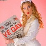 Alisha - With WW2 Naval Nurse Uniform and VJ Day Newspaper