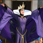 The Evil Queen blocking guests with her cape