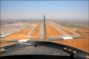 Looking back on takeoff in a P-51 Mustang