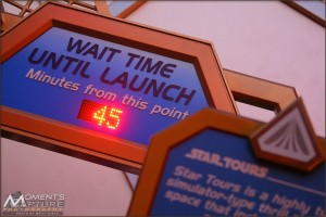 An unheard of 45 minute wait for Star Tours