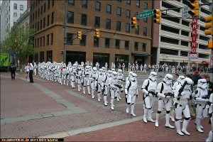 501st Stormtroopers march through the streets of Indianapolis