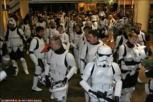 501st Members wait in the Hyatt Lobby