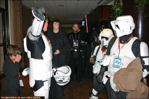501st Leader Tim directing the start of the 501st procession from the hotel