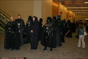 501st members walk through the convention center to the Fan Room