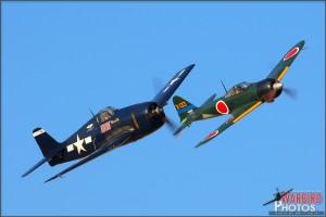 Grumman F6F-5N Hellcat and Mitsubishi A6M2 Zero