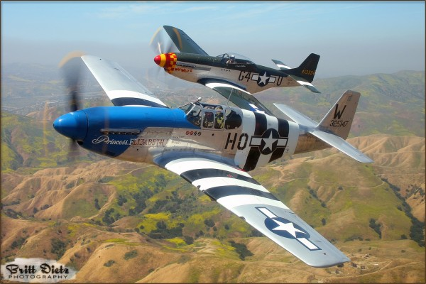 Air-to-Air with a P-51C Mustang and P-51D Mustang