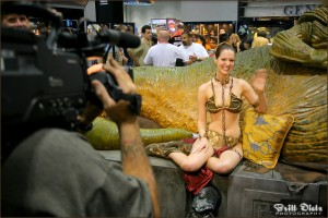 Celebration IV Slave Leia (Christy) being filmed in the exhibit hall