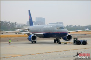A United A320 is pushed out for depature at John Wayne Airport