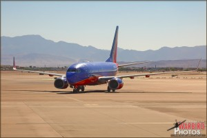 A Southwest 737 taxis in at Las Vegas Airport