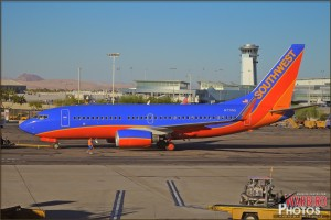 A Southwest 737 taxis past at Las Vegas Airport