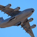 A C-17A Globemaster III banks overhead at the 2009 Edwards AFB Airshow