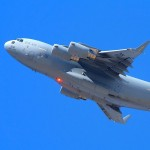A C-17A Globemaster III climbs into the sky at the 2009 Edwards AFB Airshow