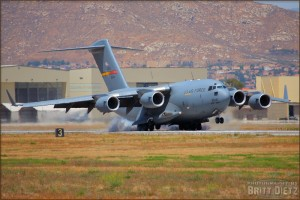 A C-17A Globemaster III lands at the 2008 March ARB Airshow