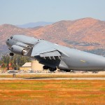 A C-17A Globemaster III takes off the 2008 March ARB Airshow