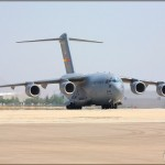 A C-17A Globemaster III taxis back at the 2008 March ARB Airshow