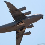 A C-17A Globemaster III banks overhead at the 2008 March ARB Airshow