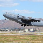 A C-17A Globemaster III takes off at the 2010 March ARB Airshow