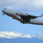 A C-17A Globemaster III raises into the air at the 2010 March ARB Airshow