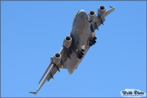 A C-17A Globemaster III banks overhead at the 2010 March ARB Airshow