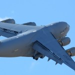 A C-17A Globemaster III raises into the skies at the 2010 March ARB Airshow
