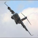 A C-17A Globemaster III banks overhead at the 2008 Riverside Airshow