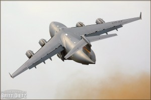 A C-17 Globemaster III raises up into the skies at the 2008 Riverside Airshow