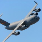 A C-17A Globemaster III banks overhead at the 2009 Riverside Airshow