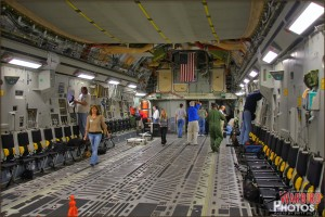 In the main cargo bay of the C-17 Globemaster III in flight