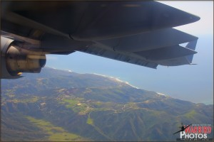View out the window of the coast on a C-17A Globemaster III