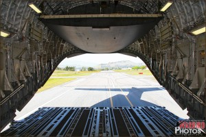 Taxing back from out flight with the ramp partially down on the C-17 Globemaster III