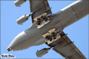 A C-17A Globemaster III banks overhead at the 2010 Riverside Airshow