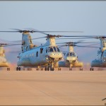 HHM-163 CH-46E Sea Knights taxi to their positions at MCAS Miramar