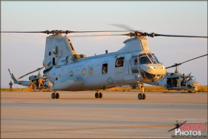 A CH-46E Sea Knights taxis into position at MCAS Miramar