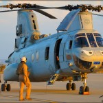 Crew members check a CH-46E Sea Knight at MCAS Miramar