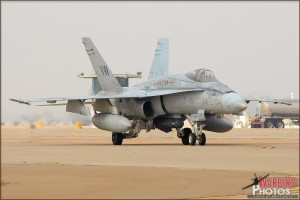 An F/A-18C Hornet based at MCAS Miramar taxis in.
