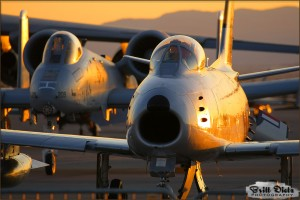 An F-86F Sabre and A-10A Thunderbolt II at the 2009 Nellis AFB Airshow