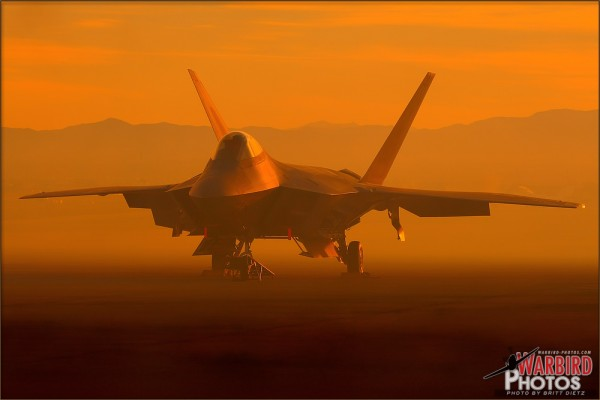 F-22A Raptor Smoke Sunset at Nellis AFB - November 14, 2010