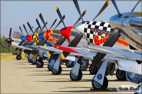 P-51 Mustangs lined up at Chino Airport - May 12-14, 2010