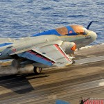 An EA-6B Prowler is catapulted off the deck of the USS Abraham Lincoln Aircraft Carrier