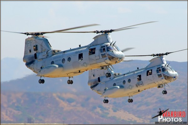 Two CH-46E Sea Knight helicopters perform a rapid entry and deployment at the 2011 MCAS Miramar Airshow