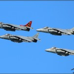Four Marine AV-8B Harrier IIs pass in formation at the Centennial of Naval Aviation Celebration 2011