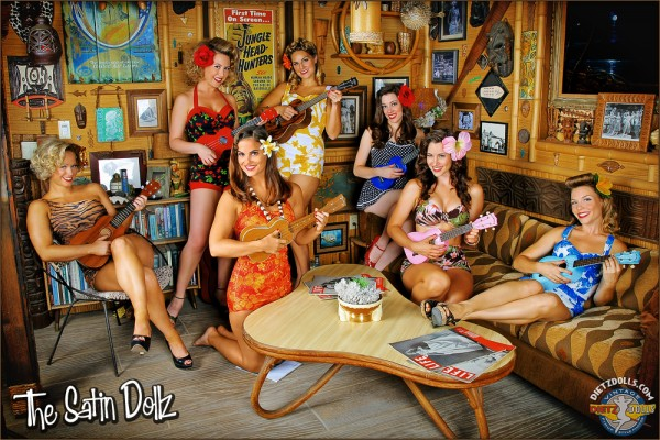 The Satin Dollz Pinup Dancers during the Tiki themed shoot
