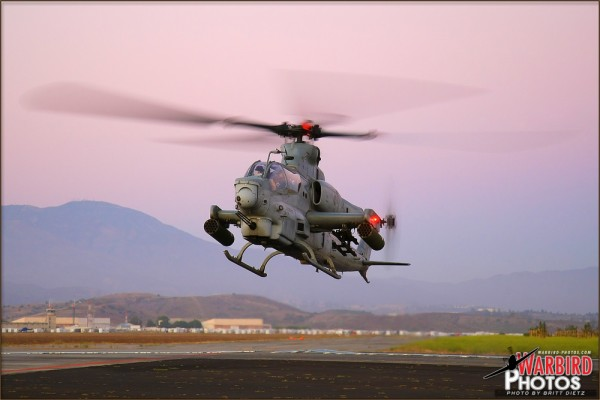 A US Marine Bell AH-1Z Viper lifts off from the former MCAS El Toro base.