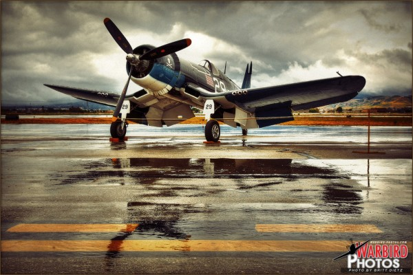 A Vought FG-1D Corsair sits at the 2011 Planes of Fame Airshow