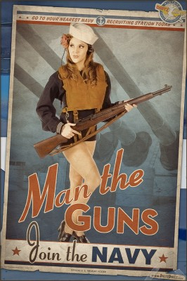"""Man the Guns! Join the US Navy"" - A World War 2 Propaganda Style Pinup Poster"