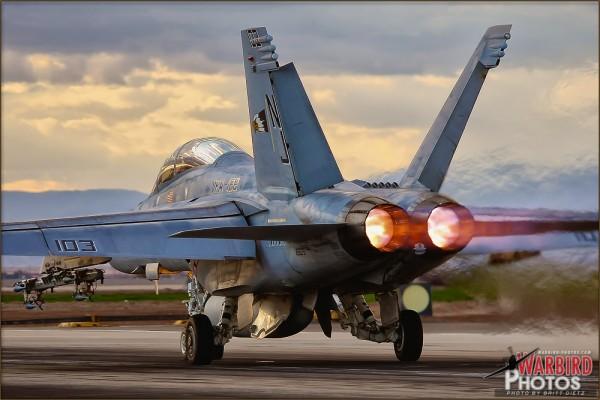 NAF El Centro PhotoCall - Boeing F/A-18F Super Hornet afterburner Takeoff