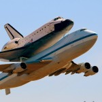 Space Shuttle Endeavour makes a pass over LAX attached to a NASA SCA 747