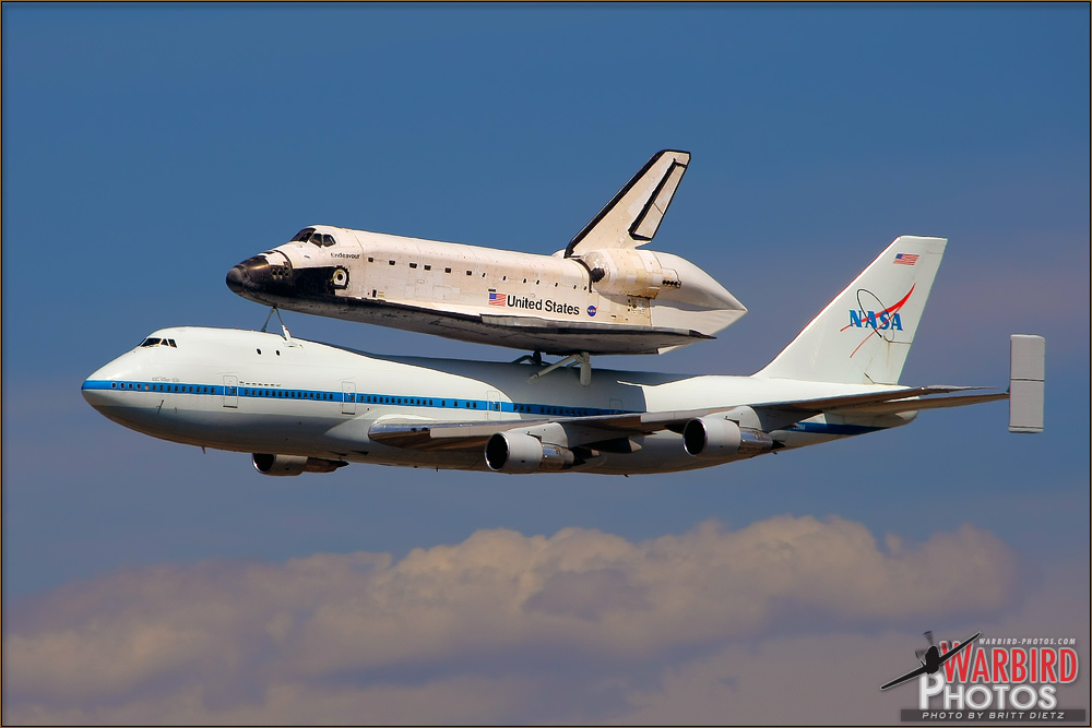 Space Shuttle Endeavour arrives at LAX onto of a NASA SCA 747